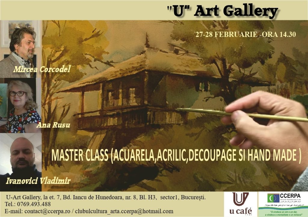 Cafenea Victoriei sector 1 - Masterclass U CAFE & U Art Gallery - Coffee to stay, coffee to go afis acuarela acrilic