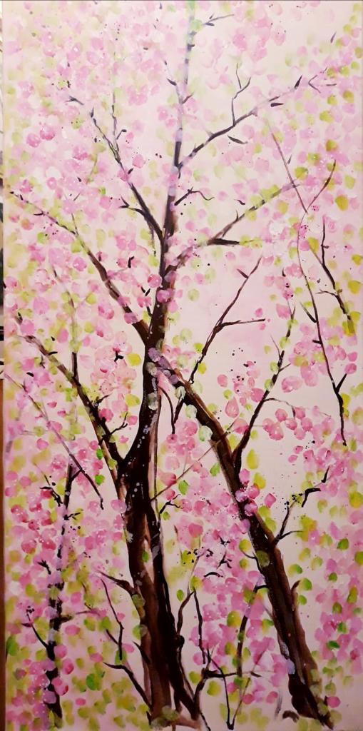 Cafenea Victoriei sector 1 - U Cafe - Bogdana M. Daradici arta tablou copac inflorit